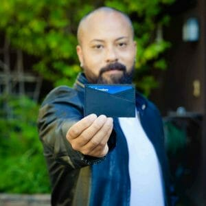 man holding card holder product