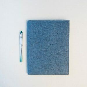 closed blue portfolio with pen