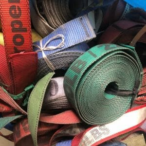 pile of cargo belts