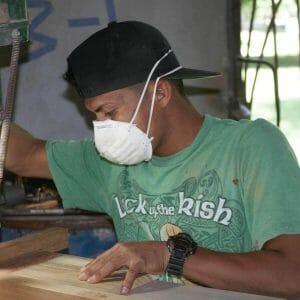 man in green shirt